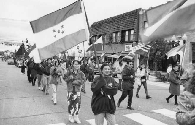 Student parade at the Festival of Nations celebration, 1990s.