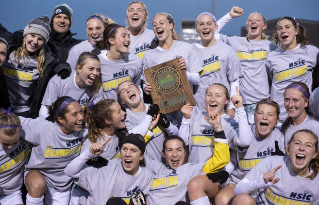 Beaver Soccer celebrates its first-ever NSIC Championship in 2018.