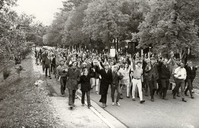 Students protest the Vietnam War with a march through downtown Bemidji.