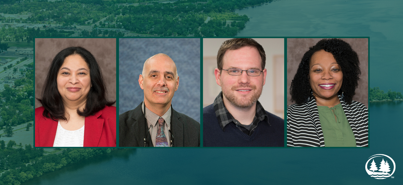 Drs. Rucha Ambikar, assistant professor of sociology and communication studies, Dennis Lunt, assistant professor of philosophy, John Gonzalez, professor of psychology and Egypt Grandison, assistant professor of business administration