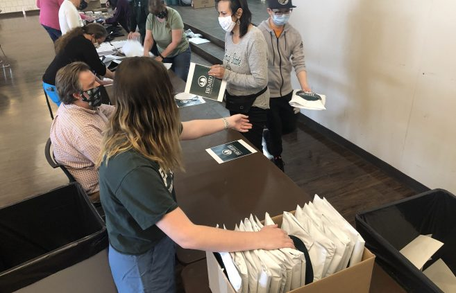 BSU employees packed congratulatory packages for Class of 2020 graduates that were mailed prior to the virtual commencement in May