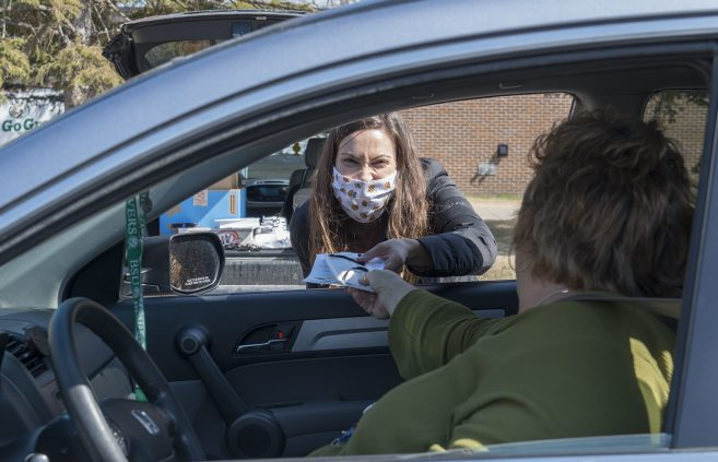 Megan Zothman and other administrators distributed free face masks to BSU employees in April