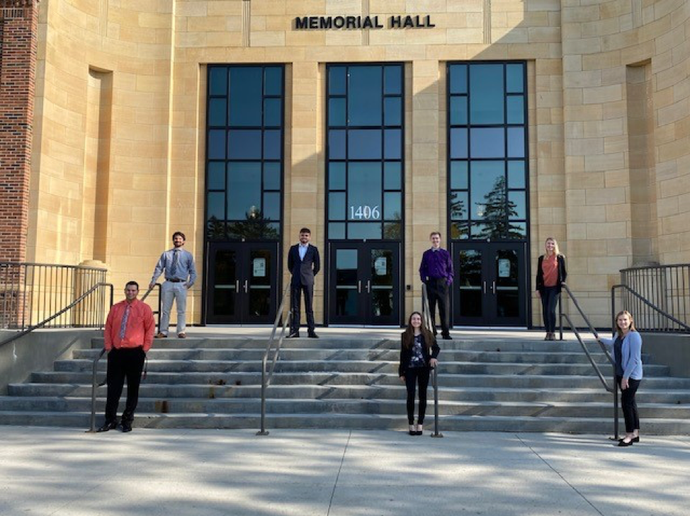 American marketing association students outside of memorial hall