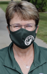 President Hensrud wearing a face mask to prevent the spread of COVID19