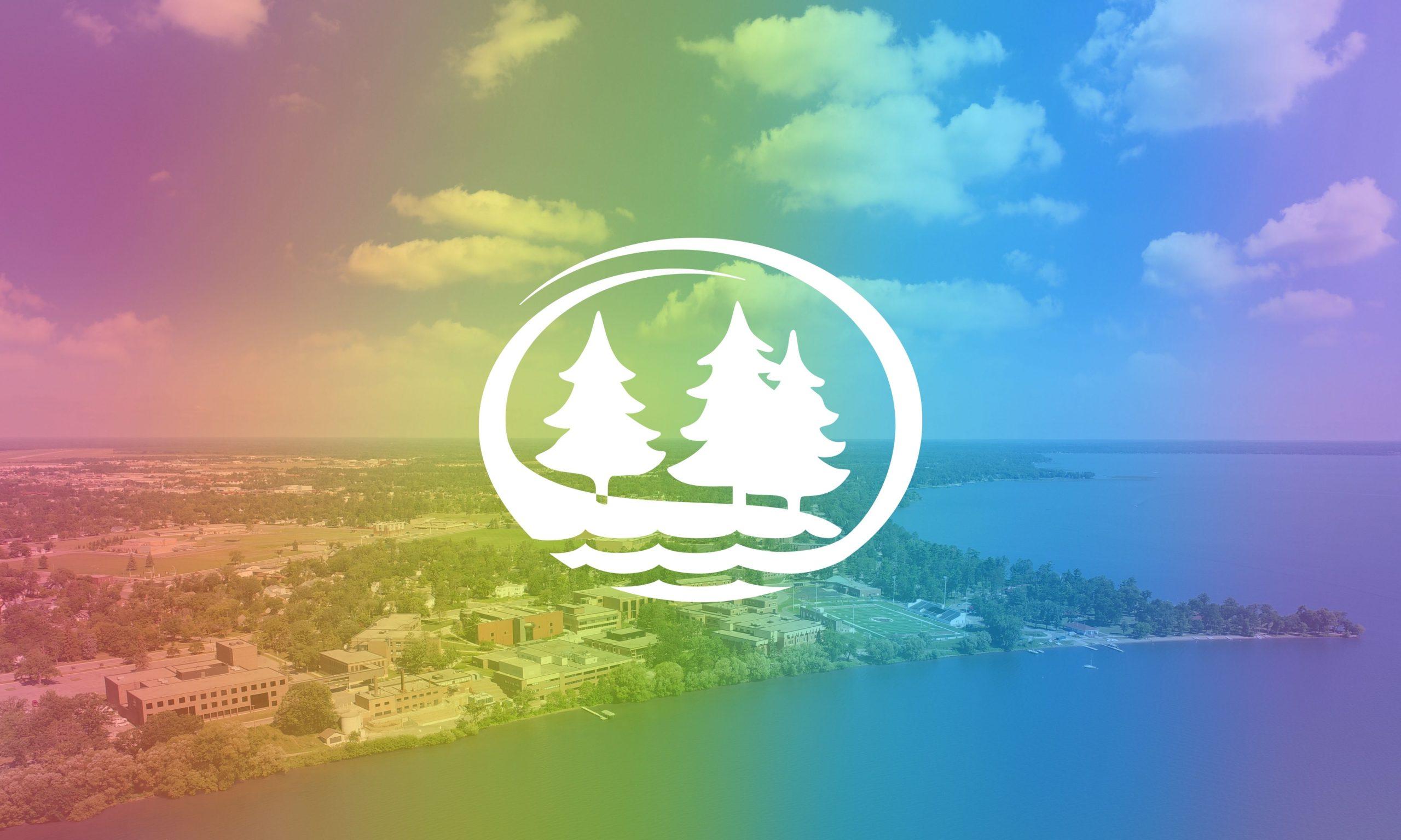 The BSU logo over a rainbow