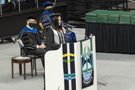 Kristin Farris, a sports management and mass communication graduate from Goodridge, Minnesota