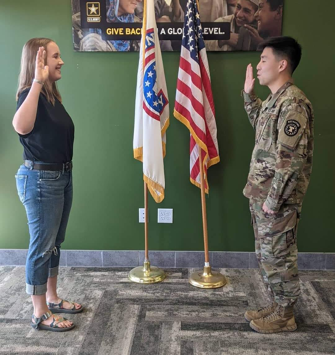 Reynolds '21 was Sworn into the U.S. Army on May 7