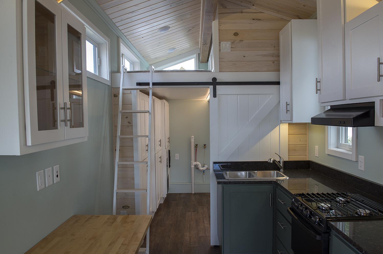 Bemidji State University tiny house kitchen and loft
