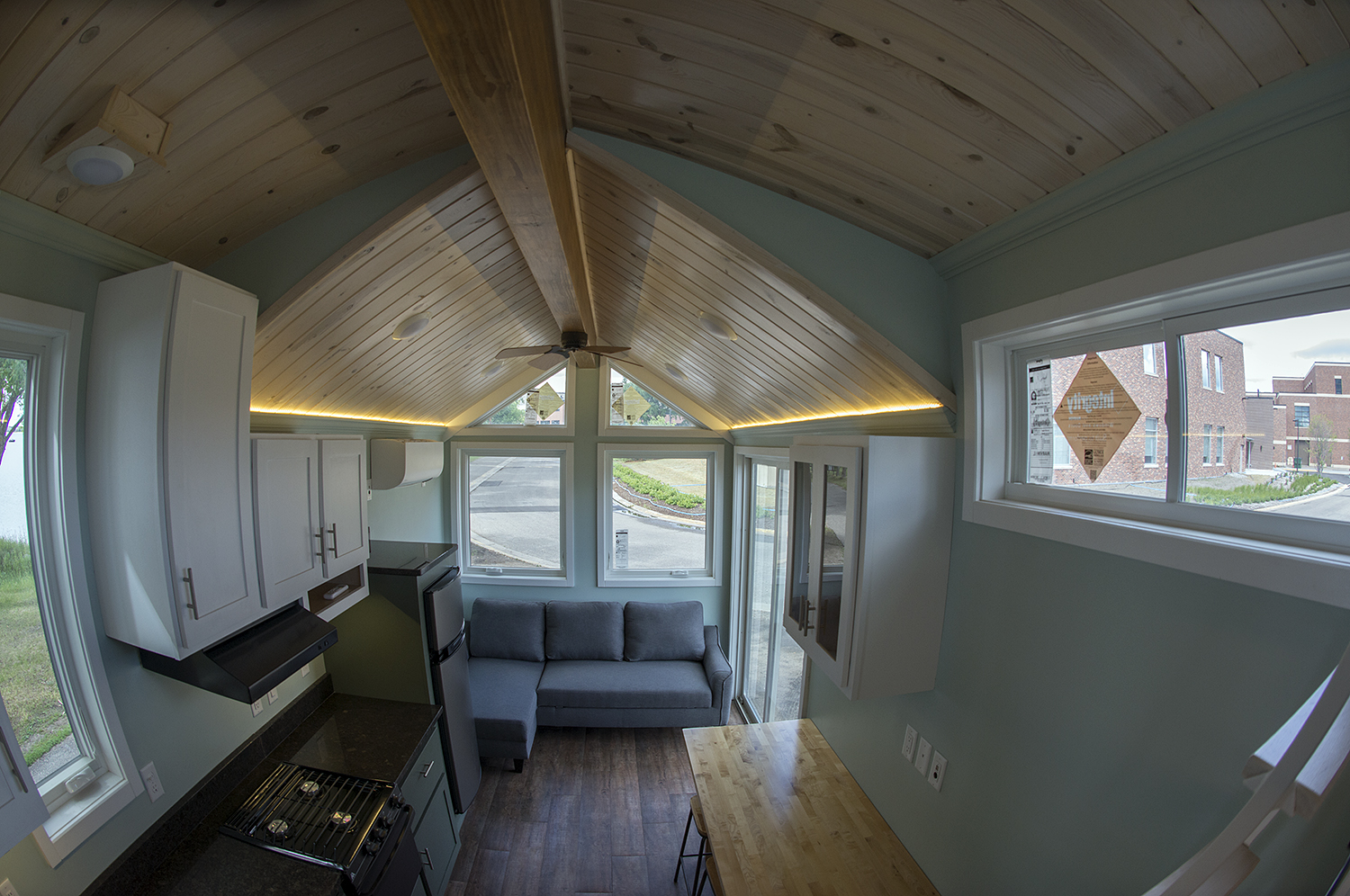 Bemidji State University tiny house Ceiling and wall pine 1 x 6, tongue and groove planks with white-wash stain & polyurethane finish