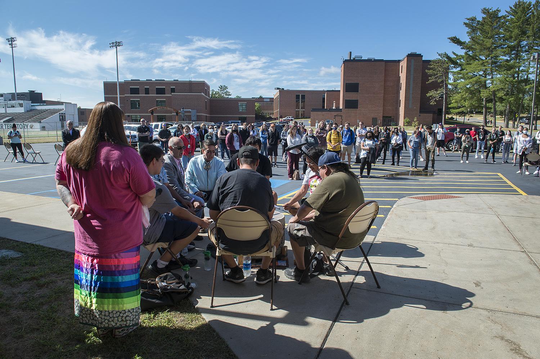 Ojibwe Nation playing an honor song