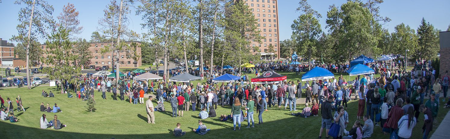 The Bemidji community gather for a campus picnic