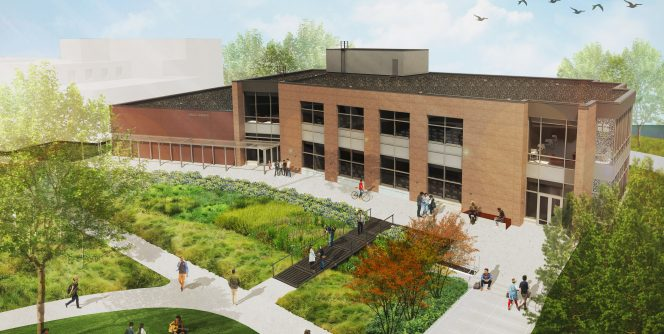 Updated exterior drawing of the new Hagg Sauer Building