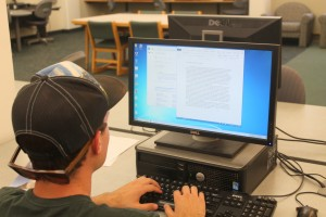 Writing a term paper in AC Clark lab.