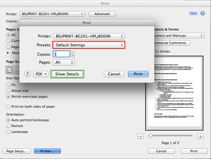 Default Print Settings To Grayscale Mac OS X Adobe Reader