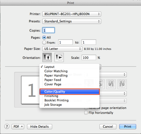 Default Print Settings to Grayscale, Mac OS X: Google Chrome