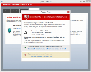 Fake pop-up anti-virus. Don't click on anything! Close the browser instead.