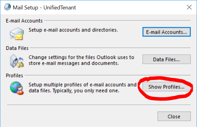 Create a new profile in Outlook 2016 (Windows 10