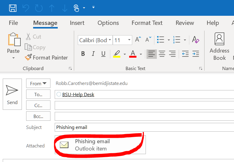 Forwarding an email message as an attachment  | Information
