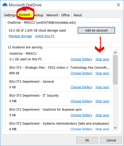 Stop syncing a folder in OneDrive | Information Technology Services