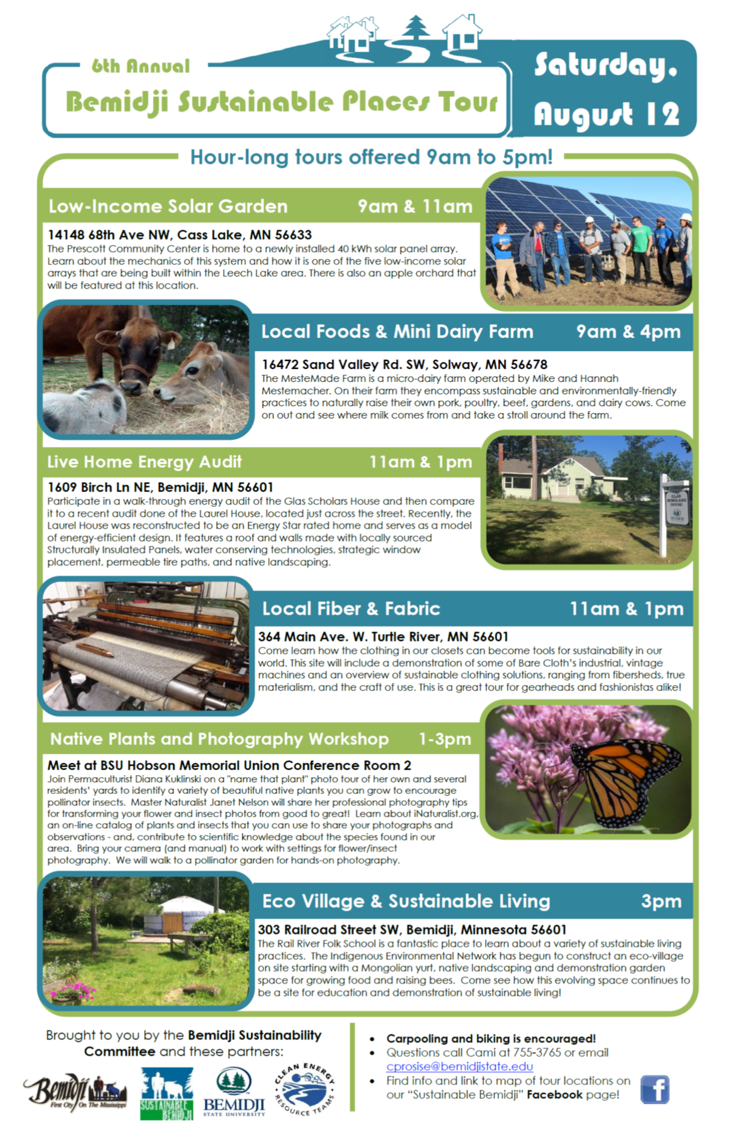 6th annual sustainable places tour saturday august 12th