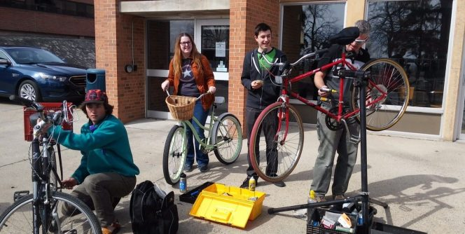 Bike fix-it clinics offered on campus during Earth Month.