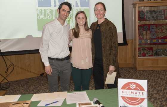 Camilla (Cami) Prosise, a senior employed by the Sustainability Office, pictured with Jordan Lutz, sustainability project manager, and Erika Bailey-Johnson, sustainability coordinator.