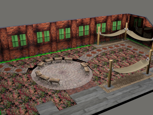 3D Rendering of proposed migrating butterfly rest-stop & outdoor classroom