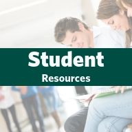 Image of students sitting in common area.  Link to student resources page.