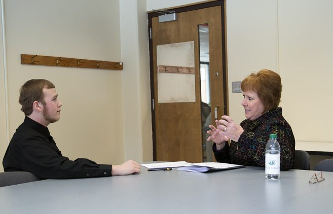 Career Services offering practice interviews with Becky Dawley an employer