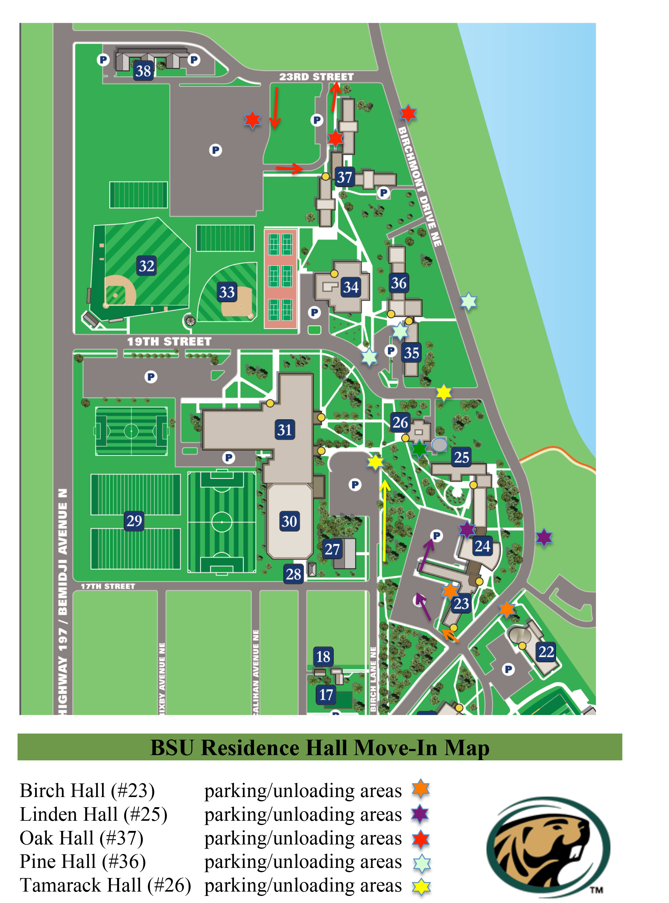 Move In Map Housing Residential Life Bemidji State University